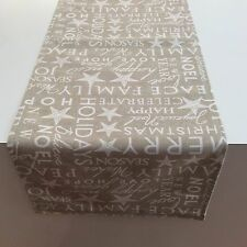 Christmas Table Runners Modern On Trend,Taupe and Crisp White Words
