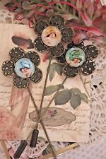 Lady Brooch Stickpins - Vintage Style Bonnet Hat Gatsby Lady Cameo Brooch Pin