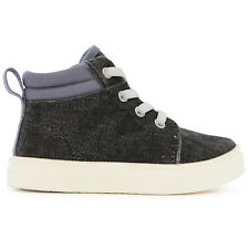 Sam Boys Black Denim Elastic Stretch Lace High-Top Shoe