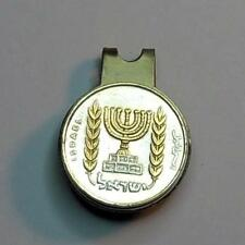 Handmade 24k Gold on Silver 1/2 Lirah Israel Menorah Coin Ball Marker/Hat Clip