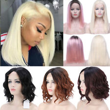 Fashion Women Lace Front Wig Short Blonde Wigs Wavy Synthetic Heat Resistant Vbm