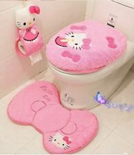 Hello Kitty Toilet Seat Cover Cushion And Rug Bathroom Mat Home Decor 4 Pcs Set