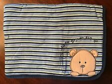 Carters LITTLE GUY on the GO brown bear BABY receiving striped blue BLANKET 0 3