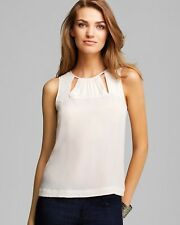 NWT FRENCH CONNECTION Ivory Silk Cut Out Pleated Blouse Cami Top 10 $139