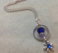 Daisy Flower Blue Crystal & SP Daisy Spacer Bead Silver Plated Chain Necklace