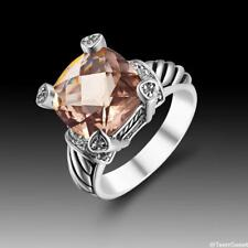 Wedding Party Jewelry Gift Morganite 925 Sterling Silver Ring size 7 8 9