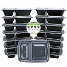 Freshware Meal Prep Containers [15 Pack] 2 Compartment with Lids, Food Containe