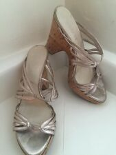 Authentic Christian Dior Gold Leather Strappy Wedge Cork Sandals Sz 8 1/2 38.5