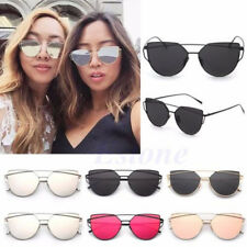 Womens Oversized Mirrored Metal Frame Glasses Cat Eye Sunglasses Outdoor  Travel