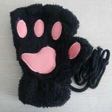 Cute Cat Claw Paw Cashmere Wool Mittens Harf Finger Gloves Short Women Lovely