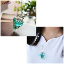 Water Drop Sea Shell Mermaid Tears Nautical Glass Wish Bottle Pendant Necklace