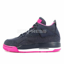 Nike Girls Air Jordan 4 Retro GS [487724-408] Basketball Dark Obsidian/Gold-Pink