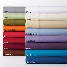 Queen Size 4 pc Attached Water Bed Sheet Set 1000TC Egyptian Cotton Solid Colors