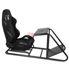 RECLINABLE 2-COLOR WOVEN RACING SEAT STYLE GAMING SIMULATOR+PEDAL/SHIFTER MOUNT