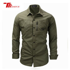 Outdoor Mens Army Tactical Military Sport Casual Long Sleeved Dress Shirts Tops