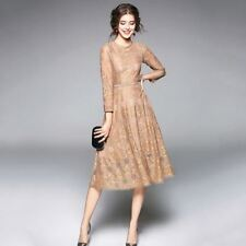 Women Lace Decorated Long Sleeve O-Neck Hollow Out Party Wear Tunic Dress