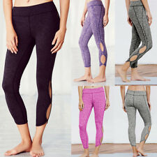Womens Capri Leggings Sports Yoga Gym Foldover Running Fitness Athletic Pants CJ