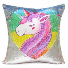 Unicorn Printed Mermaid Pillow Case Reversible Sequin Cushion Covers Home Décor