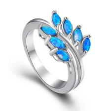New Wedding Party Jewelry Gift Clover Blue Fire Opal Silver Ring size 6 7 8 9