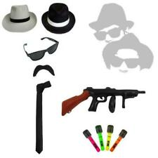 Mens Fancy Dress Blues Brothers Hat Tie Braces Gangster 1920's Inflatable Gun