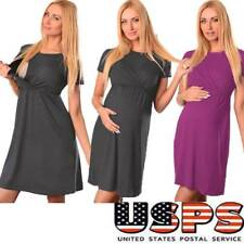 Pregnant Maternity Women's Solid Short Sleeve Blouse Loose Evening Party Dress