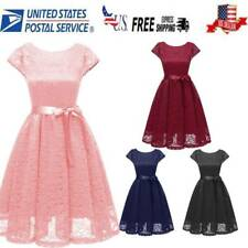 US Women's Vintage Lace Formal Wedding Cocktail Evening Party Prom Swing Dress