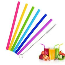 6Pcs/Set Reusable Silicone Straw with Cleaning Brushes Straight Drinking Straws