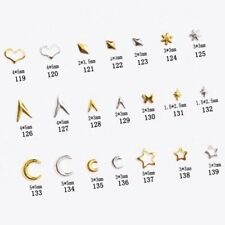 2 Bags Gold Rivet Studs Star Round Square Triangle Mixed 3D Nail Art Decoration