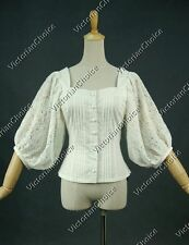 Victorian Gothic Lace Cotton Top Blouse Shirt Riding Steampunk Theater N B026 L