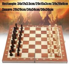 Portable Large Chess Travel Wooden Set Folding Chessboard Pieces Board Craft ZH