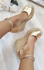 IKRUSH Women's Alissa Studded Ankle Strap Espadrille Wedges Size  in CHAMPAGNE