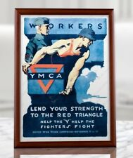 WWII YMCA Poster - Reproduction of Original WW2 Print, Wood Framed or Unframed