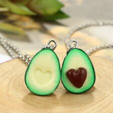 Cute Green Avocado Friendship Keychain or Necklace Set Heart Couple Gift~