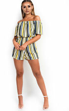 IKRUSH Womens Tina Off Shoulder Striped Playsuit
