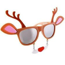 Sunstaches Holiday Reindeer Clear Lens Sunglasses, Instant Costume, Party Favors