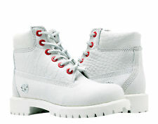 Timberland 6-Inch Premium Waterproof White Exotic Youth Little Kids Boots A1PIT
