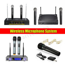 Portable VHF Wireless Microphone System LED 2 Channel Handheld Mic Karaoke
