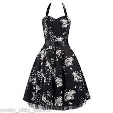 PRETTY KITTY PROM BLACK COCKTAIL FLORAL PARTY ROCKABILLY SWING DRESS 8-26