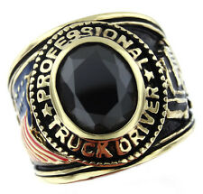 Mens Truck Driver Black CZ Stone 18 Kt Gold Plated Ring
