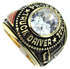 Mens Truck Driver Simulated Diamond 18kt GP Ring New