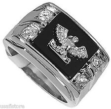 Eagle On Genuine Jet Black Onyx Rhodium Plated Ring New