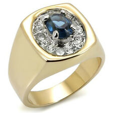 Mens Simulated Sapphire Blue St. 18kt GP Two Tone Ring