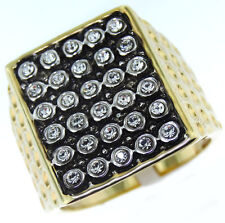 30 Clear Crystal Stones Black & Silver Top 18kt Gold EP Mens Ring