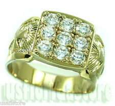 Mens Nine Simulated Diamond Cross 18kt Gold EP Ring