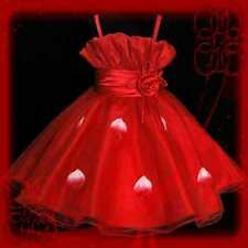 Red Wedding Graduation Party Flower Girls Dress Age 2-9