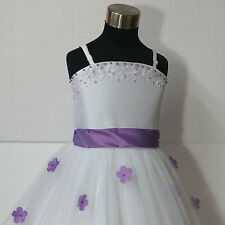 Purple White Beautiful Communion Pageant Party Flower Girl Dresses SIZE 1-2-3-4