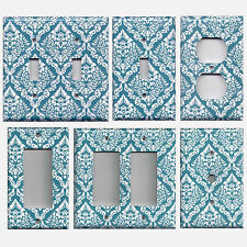 Teal/Turquoise Blue & White Intricate Damask Floral Switch Plates/Outlet Covers