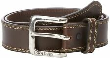 John Deere Brown Buffalo Leather Belt - Sizes 34 - 46 (Brand New with Tags)