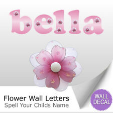 Name Wall Letters Alphabet Stickers Initial Decals Girls Decor Pink Flower