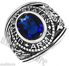 Mens Sapphire Blue US Army Military Rhodium Plated Ring